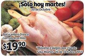 Soriana Hiper: pollo entero $19.90 kg, frutas y verduras