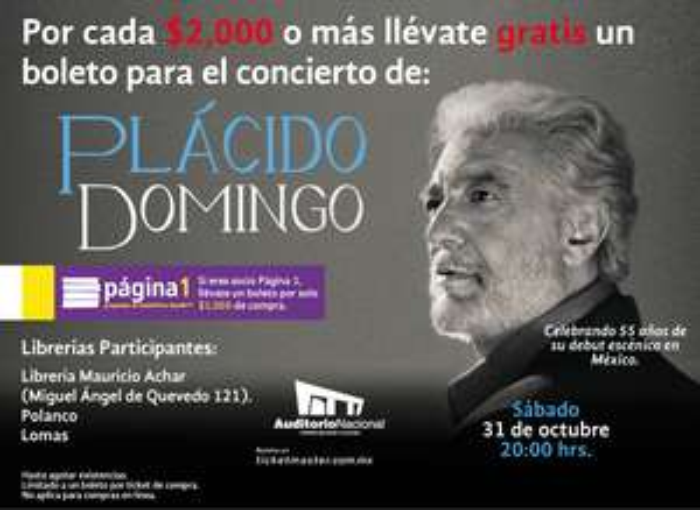 Librerías Gandhi: Boleto gratis para Plácido Domingo comprando desde $1,000 (DF)