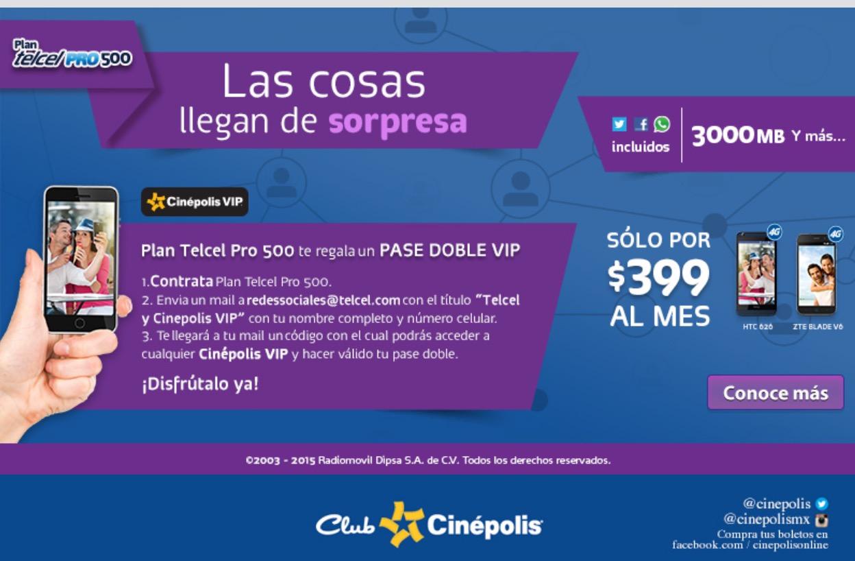 Telcel y Cinépolis te regalan un pase doble vip