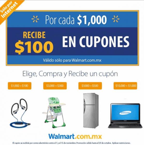 Walmart: $100 de bonificación por cada $1,000 de compra por internet