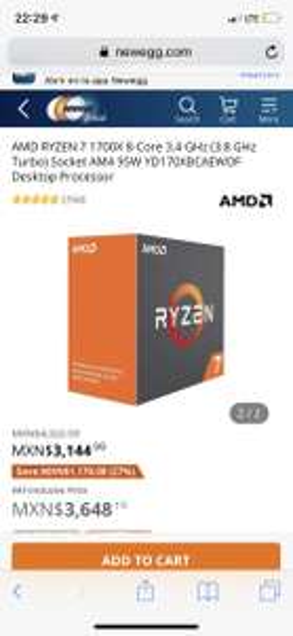 Newegg: AMD Ryzen 7 1700X.