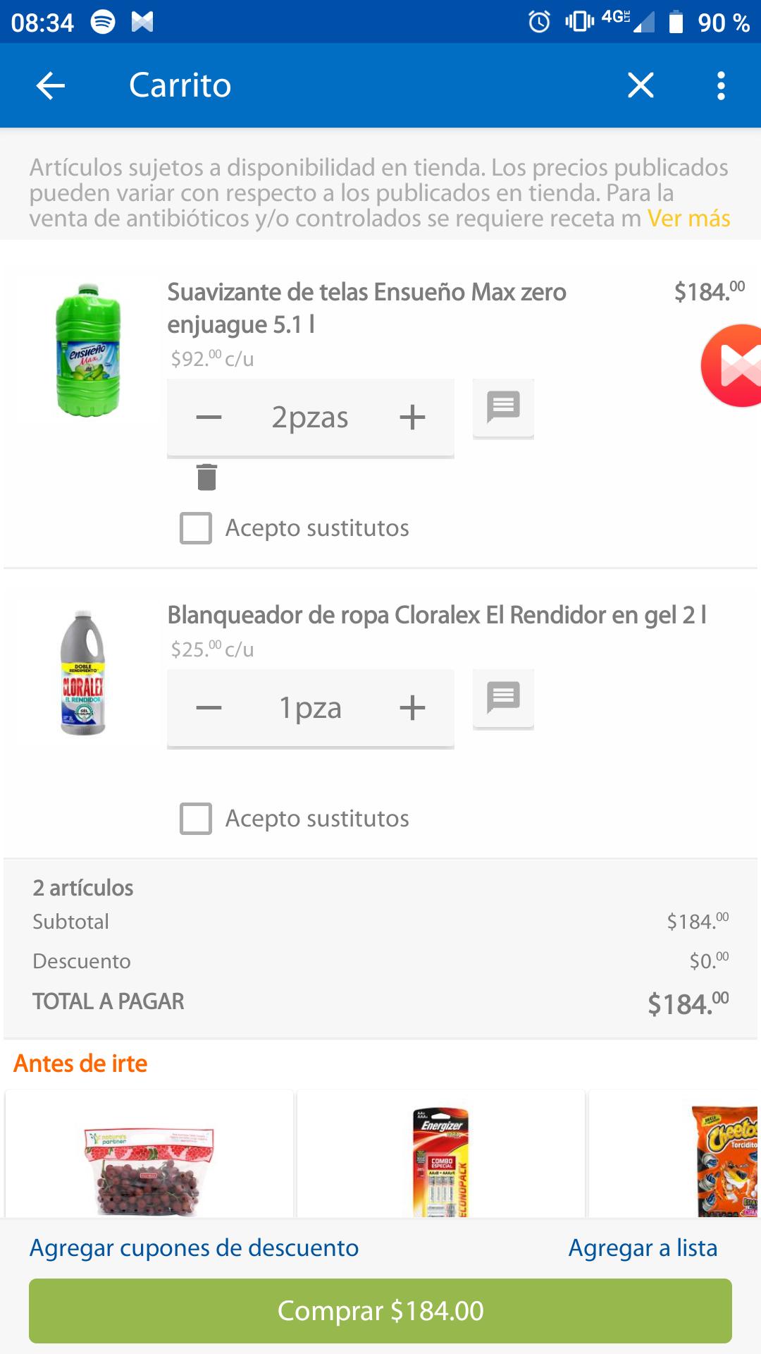 Walmart Súper: 2 suavizantes ensueño + cloralex rendidor por 184