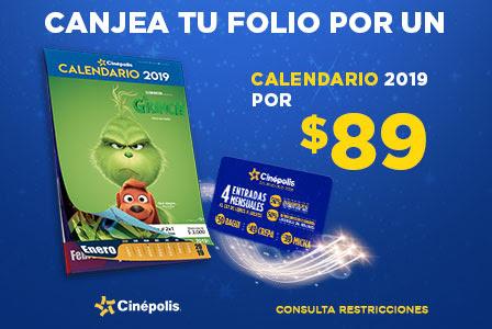 Cinépolis: Calenadario Cinépolis 2019 en $89 con folio promocional al comprar boletos en línea