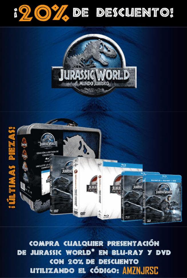 Amazon:. Tetralogia Jurasic World en Blu-Ray con lonchera. 20% de descuento