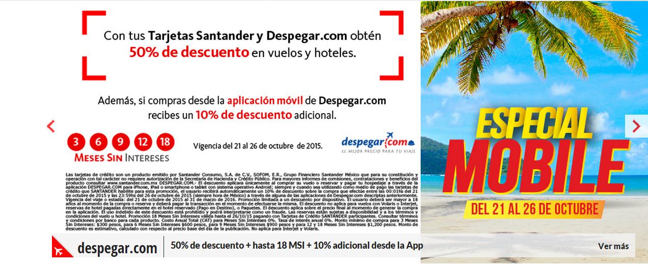 Despegar: 50% de Descuento en vuelos y hoteles pagado con Santander.