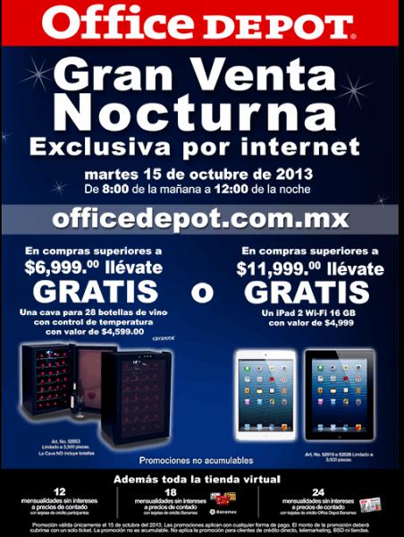 Venta nocturna Office Depot octubre 15: cava o iPad gratis con compra mínima