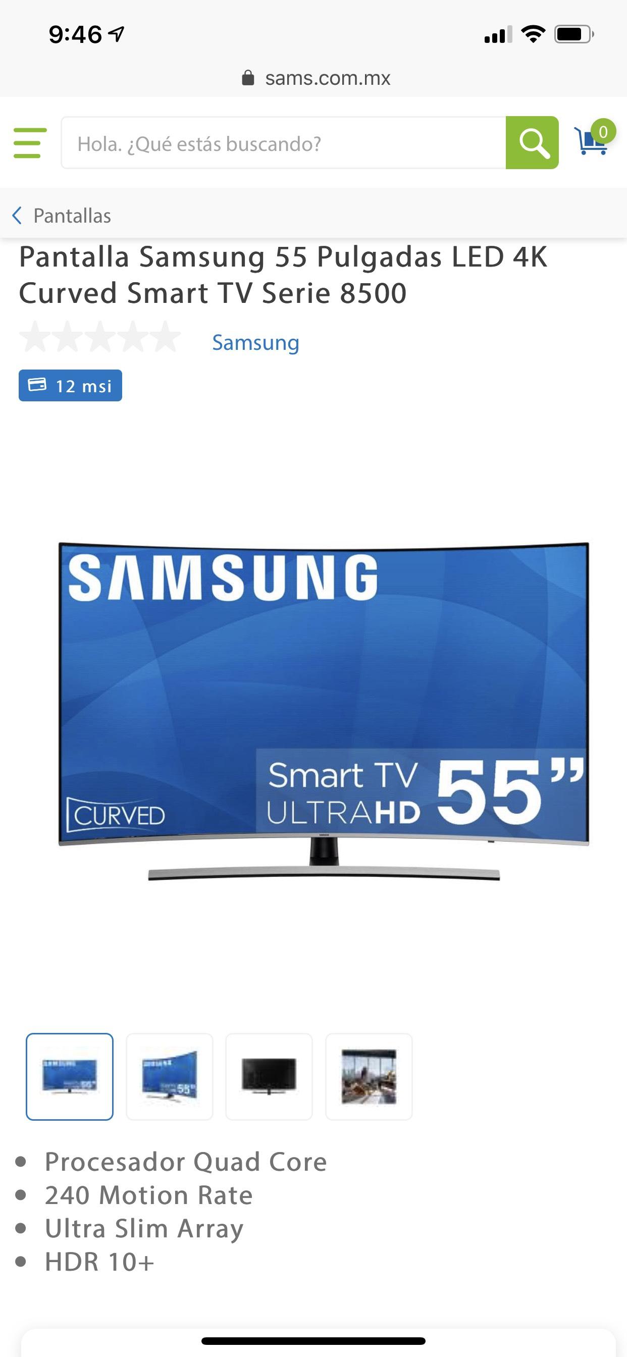 Sam's Club: Pantalla Samsung 55 Pulgadas LED 4K Curved Smart TV Serie 8500