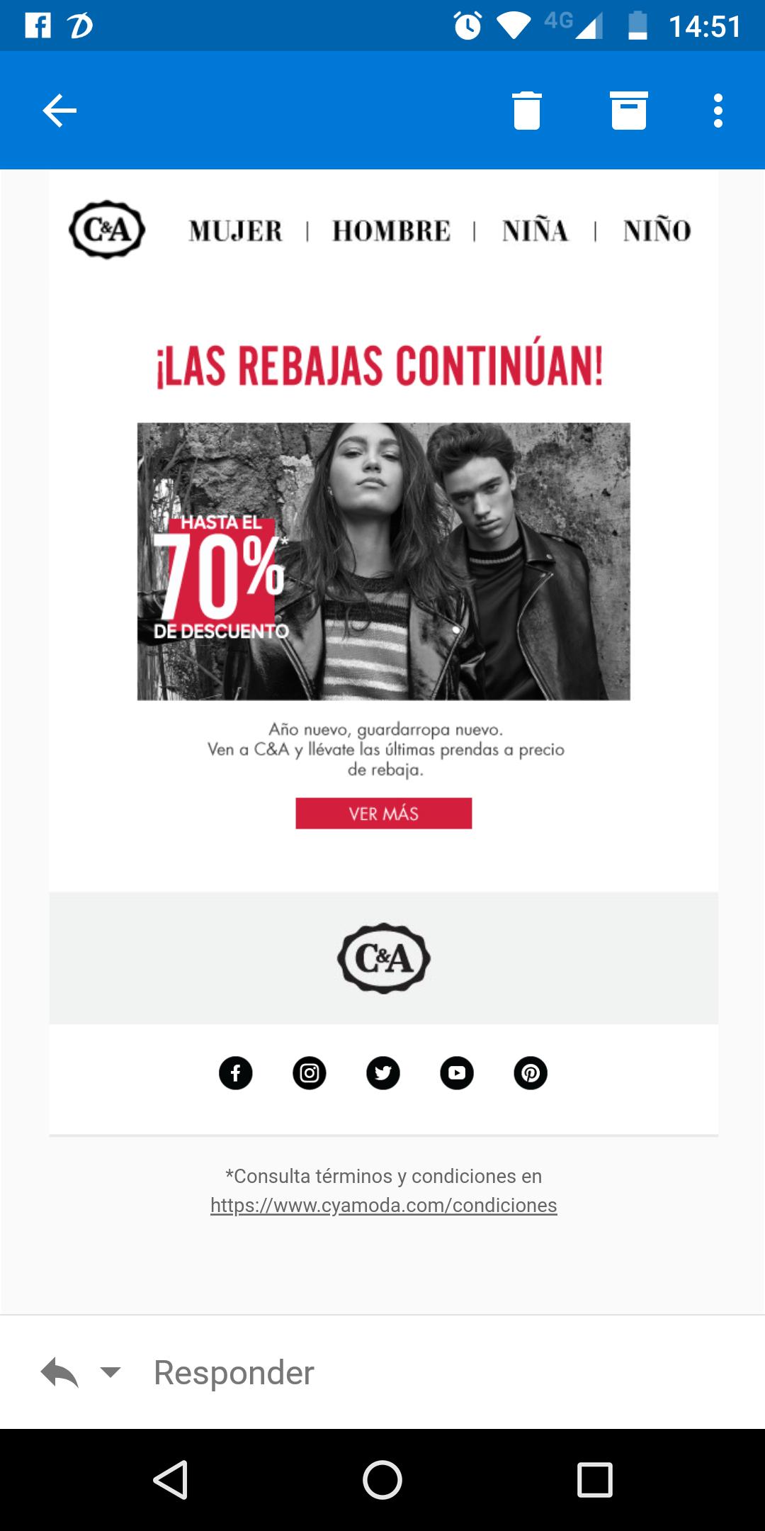 C&A: ropa con hasta 70% de descuento