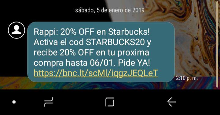 RAPPI 20% De Descuento al Ordenar en Starbucks