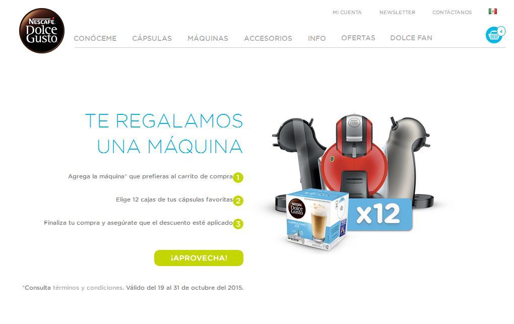 Tienda en linea Nescafé: Máquina Dulce Gusto gratis comprando 12 cajas de cápsulas