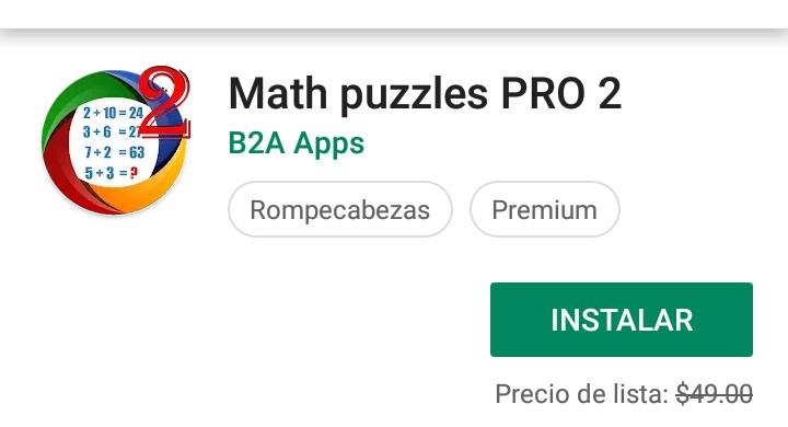 Google Play: Puzles Matemáticos Pro 2 Gratis