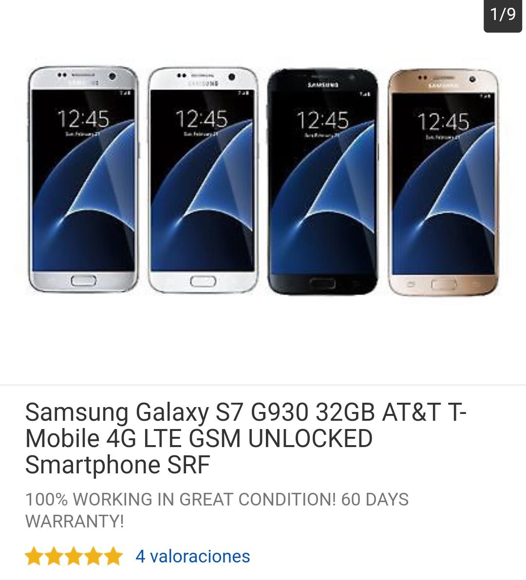 Ebay: Samsung Galaxy S7 G930 32GB AT&T T-Mobile 4G LTE GSM UNLOCKED (precio incluyendo envío)
