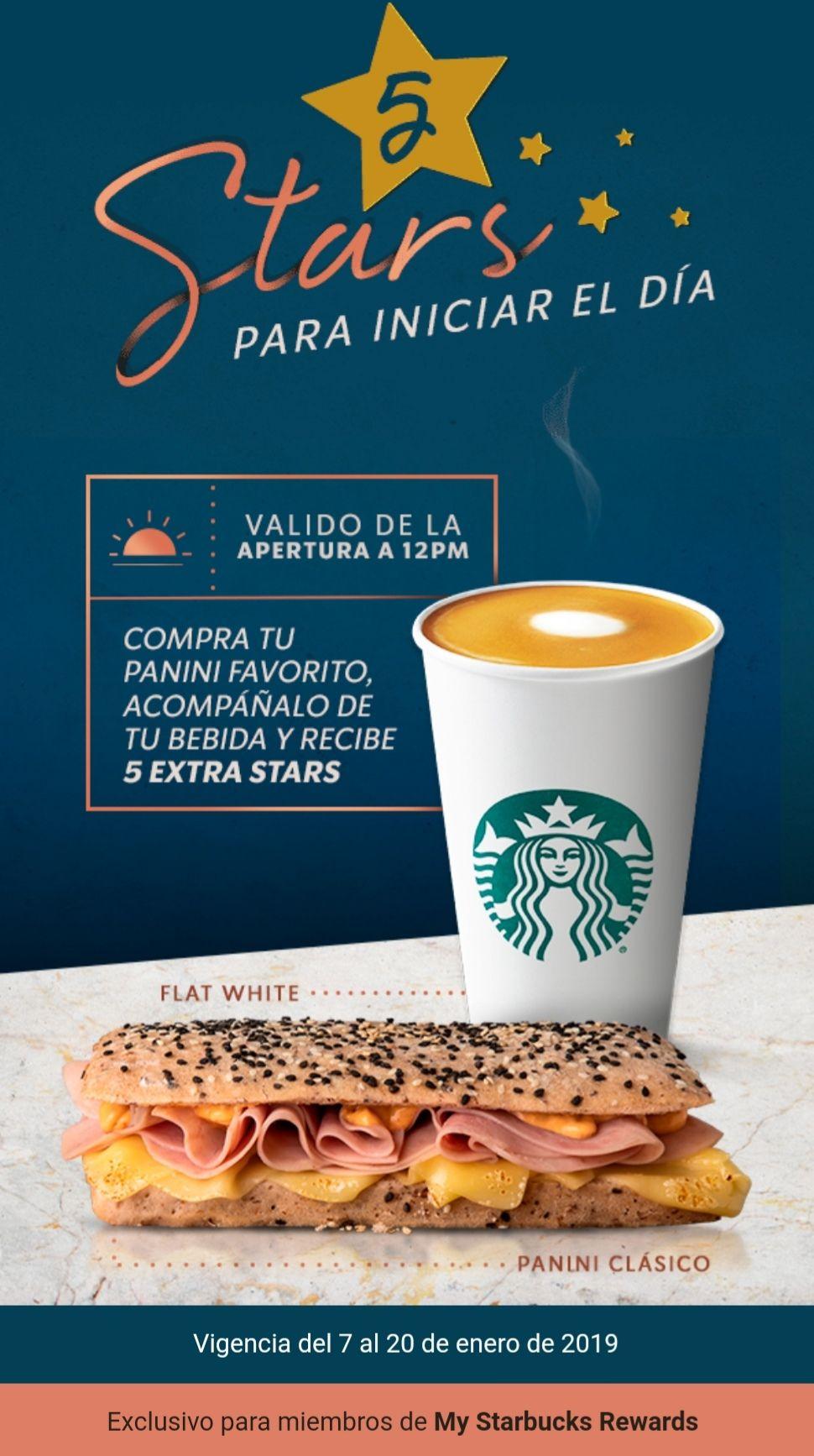 Starbucks: 5 stars en la compra de bebida y panini