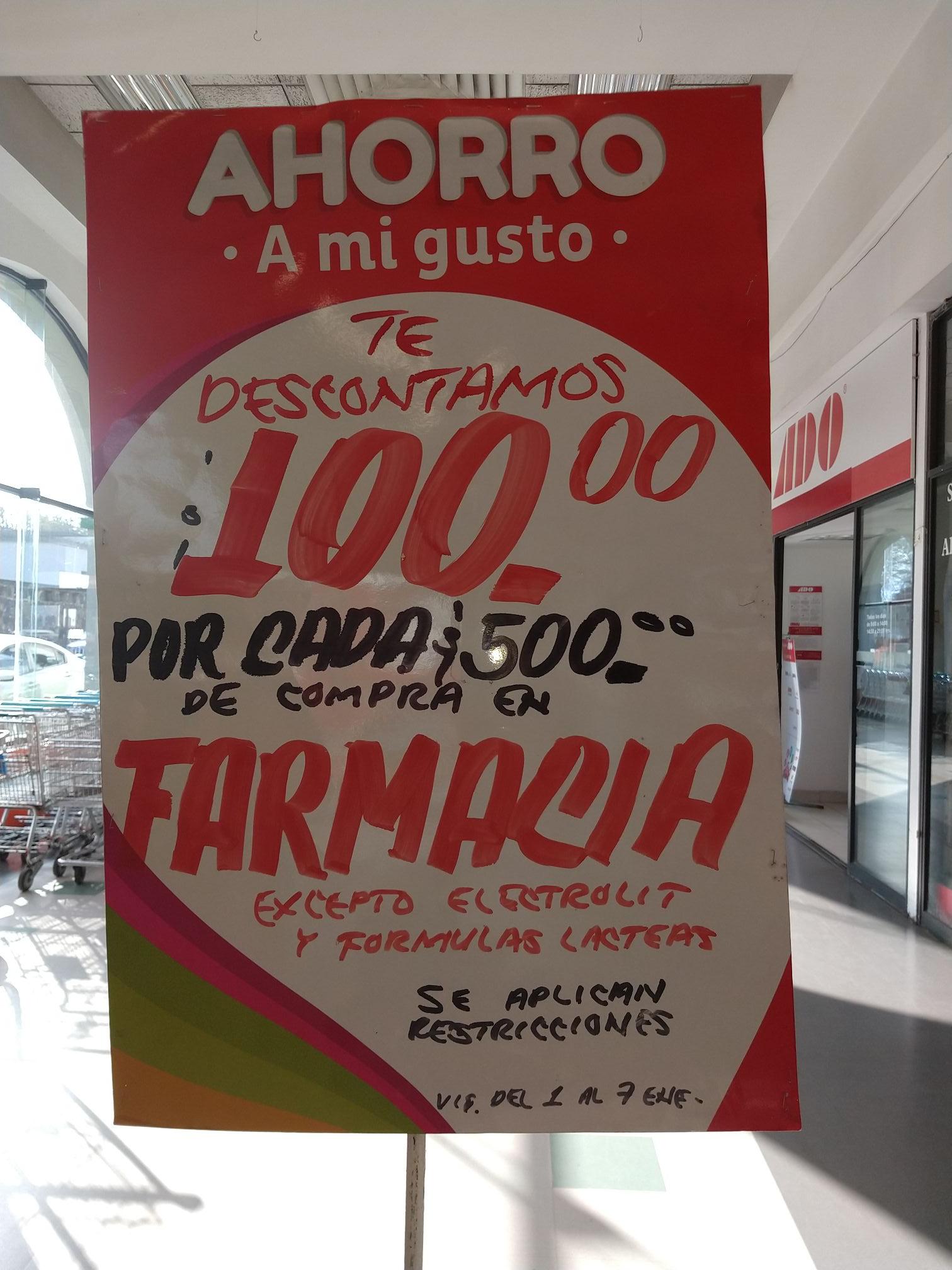 Mega Soriana: $100 de descuento por cada $500 en farmacia