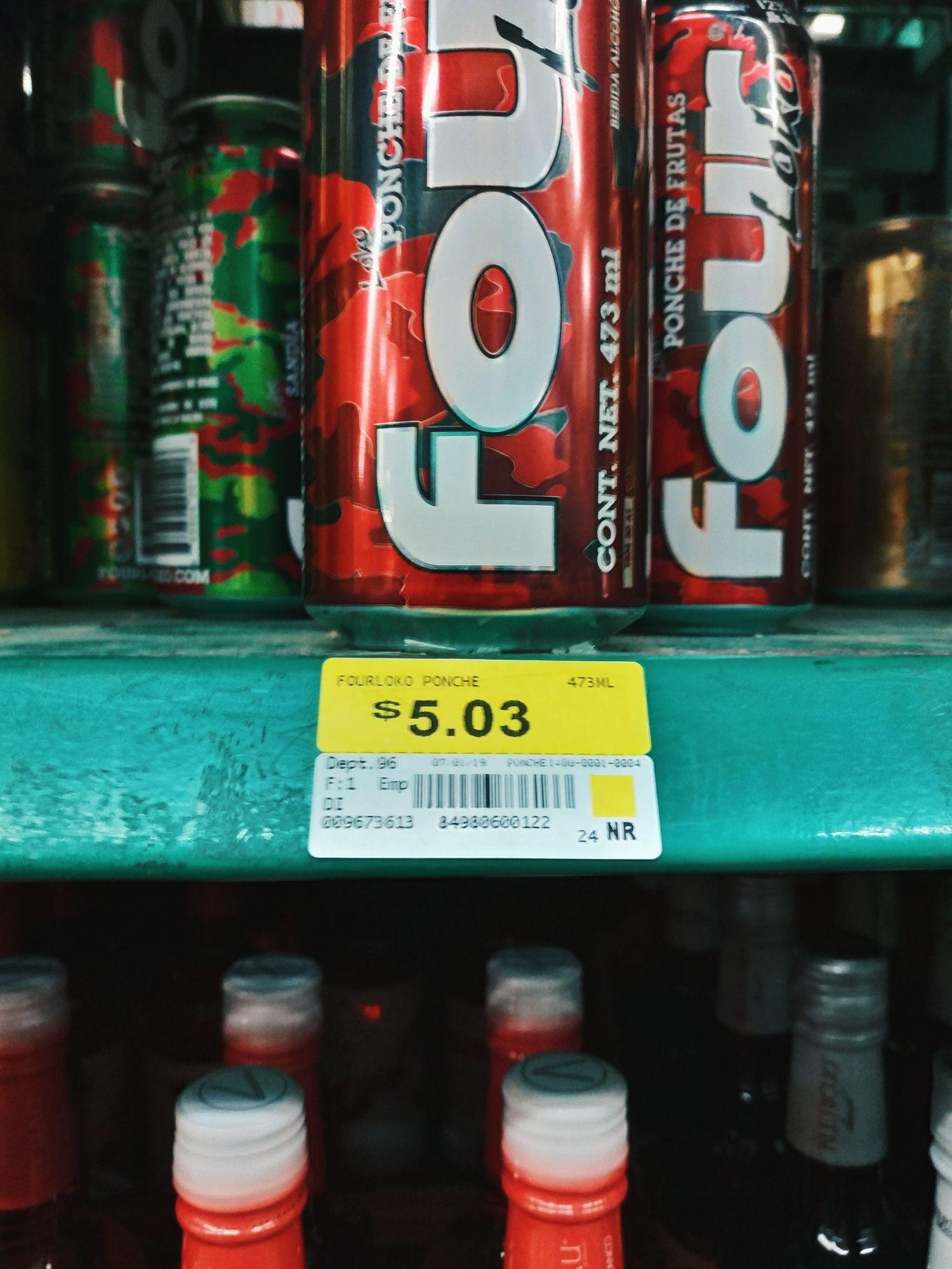 Bodega Aurrera 14 Ote. Puebla: Four Loko a $5.