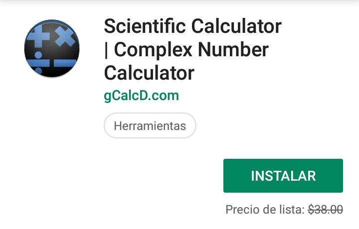 Google Play: Calculadora Científica Complex Number (Gratuita)