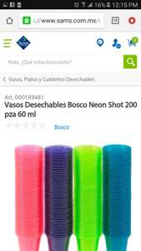 Sam's Club: 200 Vasos desechables neon para shots