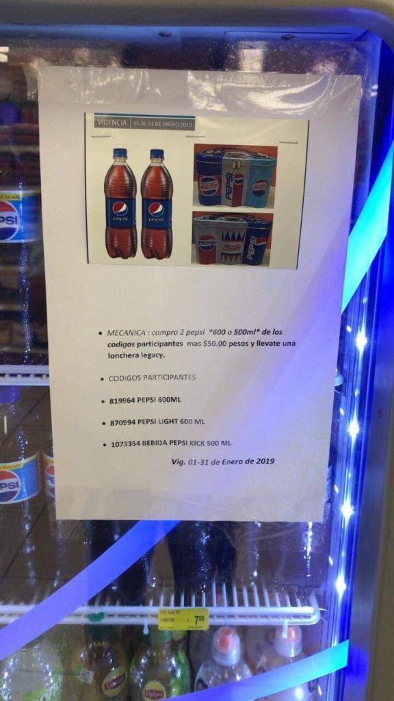 Farmacias Guadalajara:  Compra dos Pepsi de 600 o 500 ml y llévate una lonchera Pepsi por $50