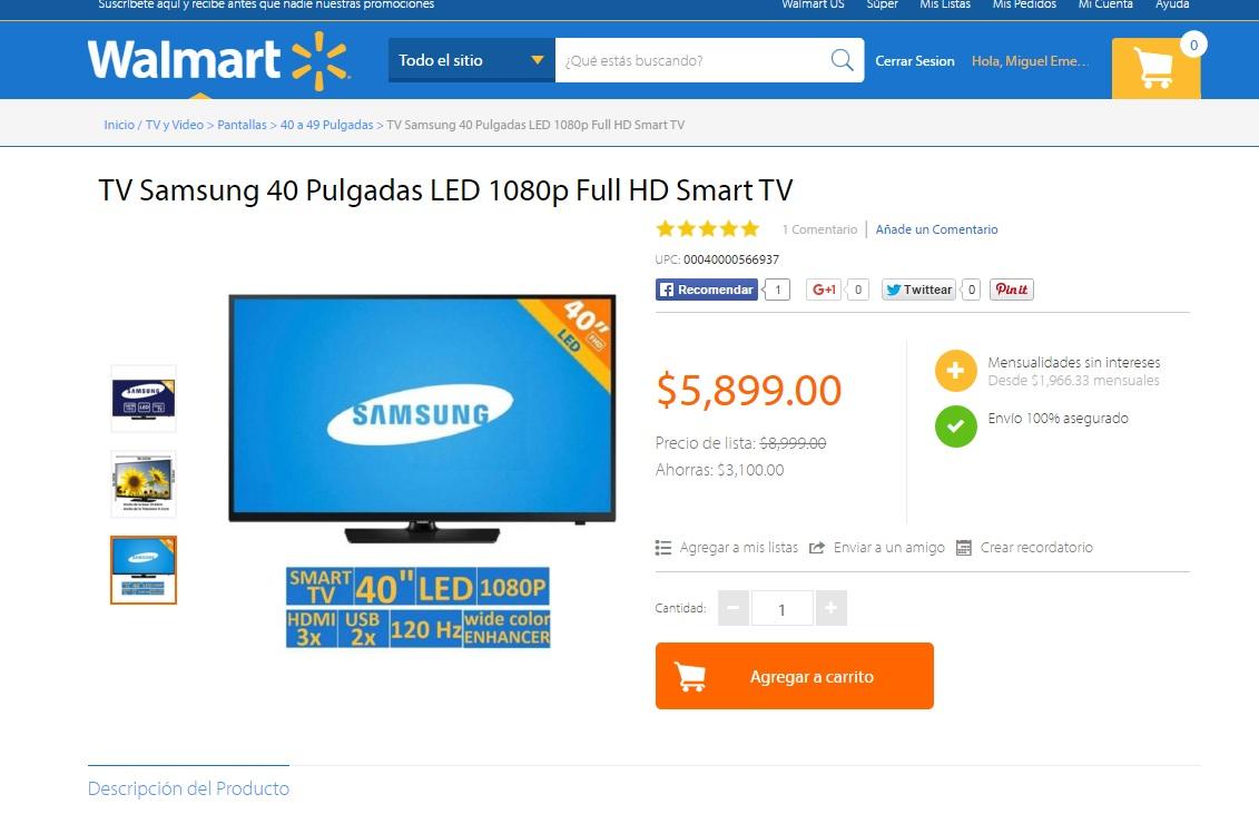"Walmart: TV Samsung 40"" LED 1080p Full HD Smart TV a $5,899"