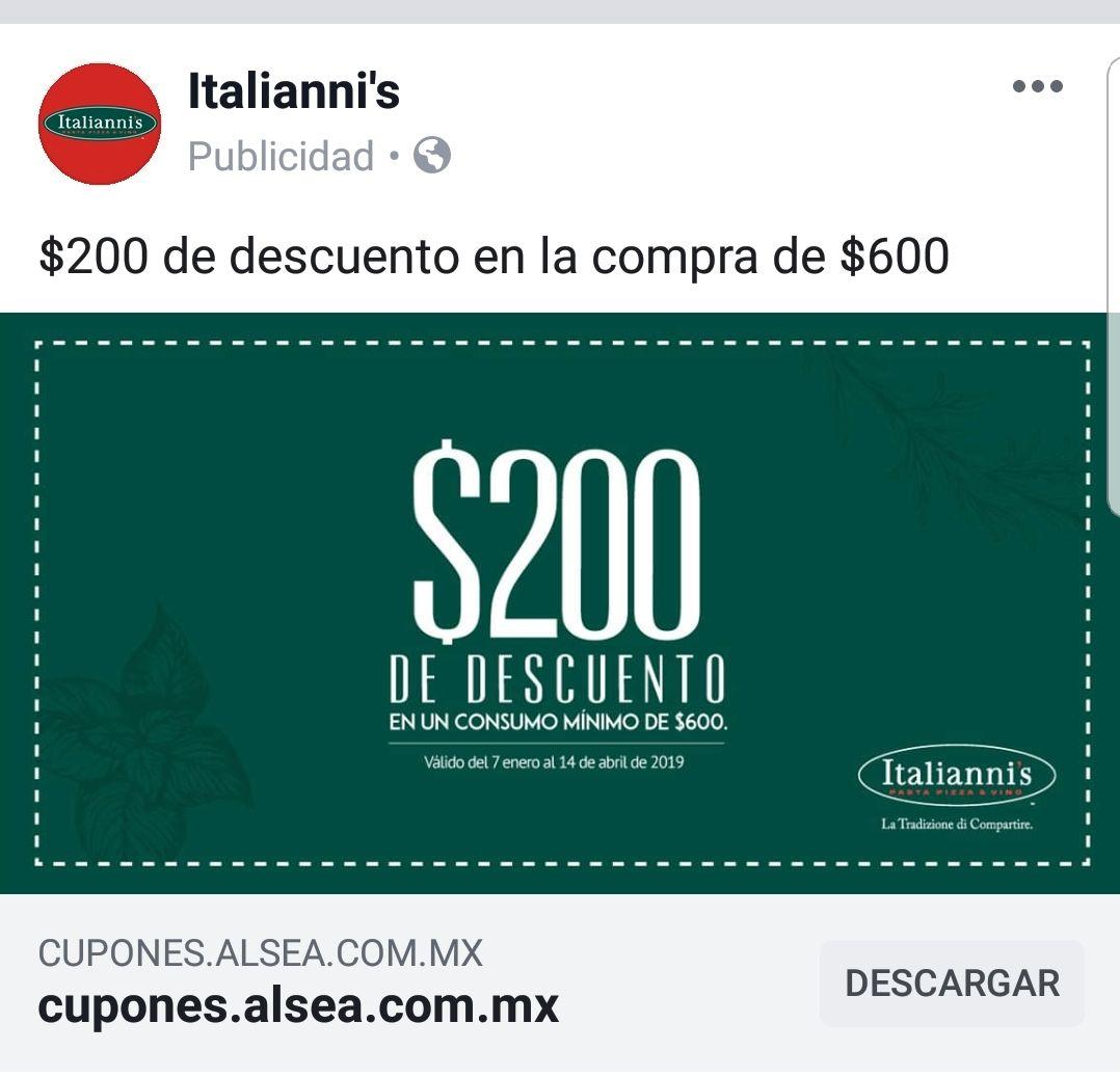 Italianni's: 200 de descuento en consumo mínimo de 600