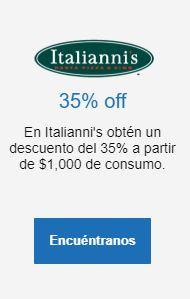 Italianni's: 35% de descuento pagando con tarjeta Bancomer sobre consumo mayor a $1000