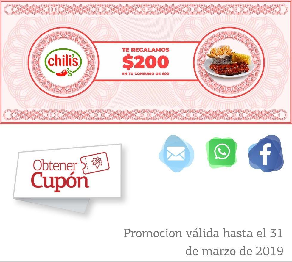 Chilis: Descuento de $200 en consumo mínimo de $600