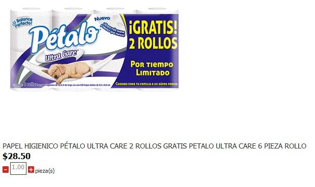 Soriana: PAPEL HIGIENICO PÉTALO ULTRA CARE 2 ROLLOS GRATIS $28.5