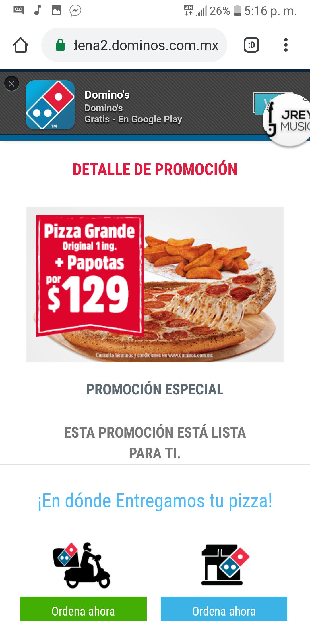 Domino's Pizza: Pizza Grande original 1 ING + Papotas
