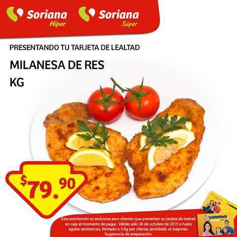 Soriana: Milanesa de Res $79.90 Kg