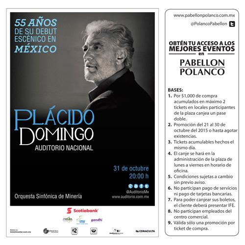 Pabellón Polanco: Boletos de regalo para Plácido Domingo, Ana Torroja o ex Timbiriches con compra mínima