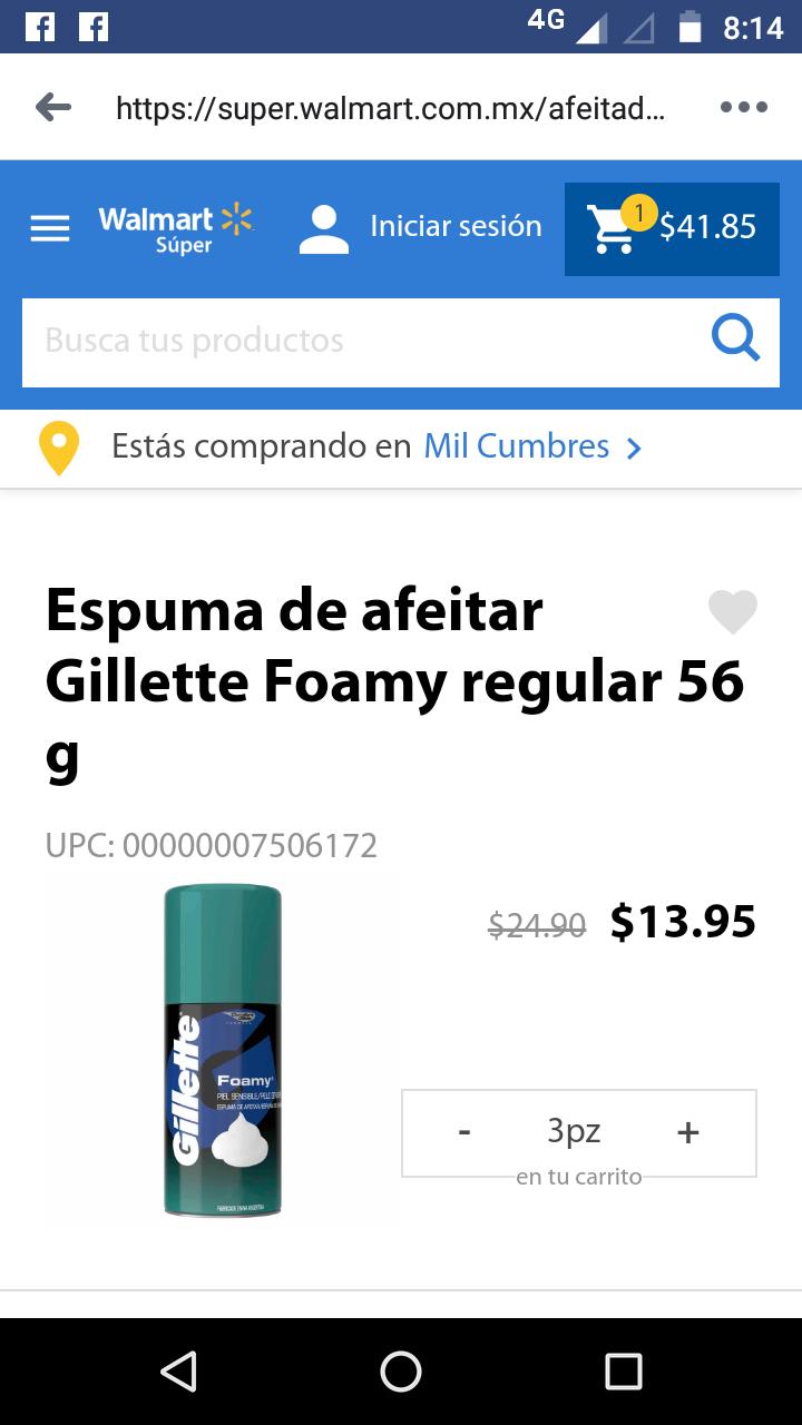 Walmart: espuma de afeitar Gillette de 56 gr