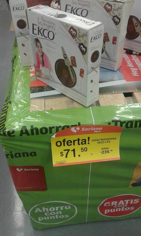 Soriana: Juego de reposteria 4 piezas $71.50