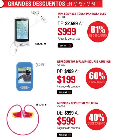 RadioShack: Walkman Sony 8GB touch con pantalla OLED $999 y más