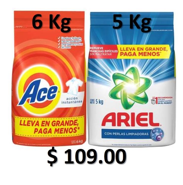 Walmart: Ace 6 Kg ó Ariel 5 Kg $109.00
