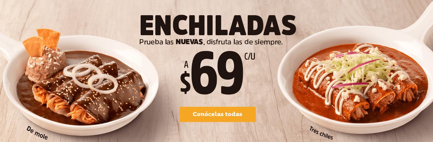 VIPS: Todas las Enchiladas a $69 con opción a crecer menú por $49 bebida, café y sopa