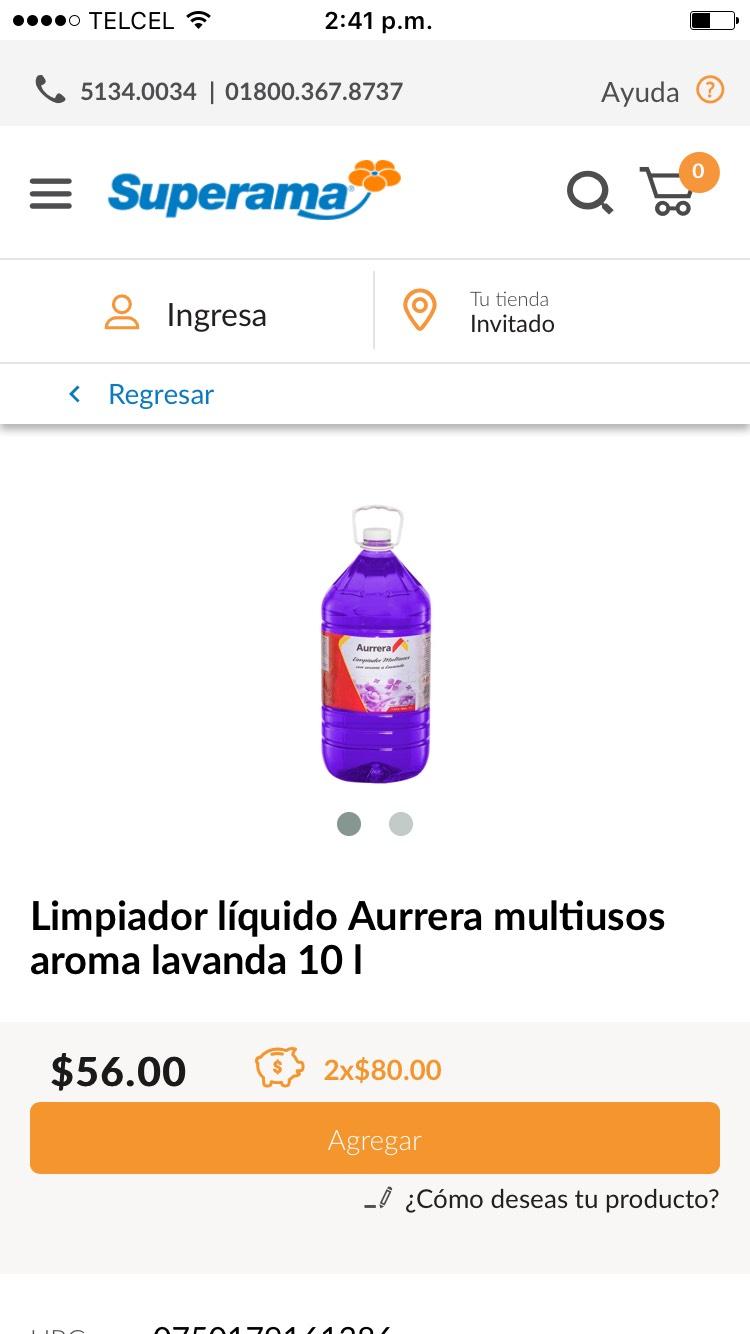 Superama: Limpiador 10L marca Aurrera (2x$80)