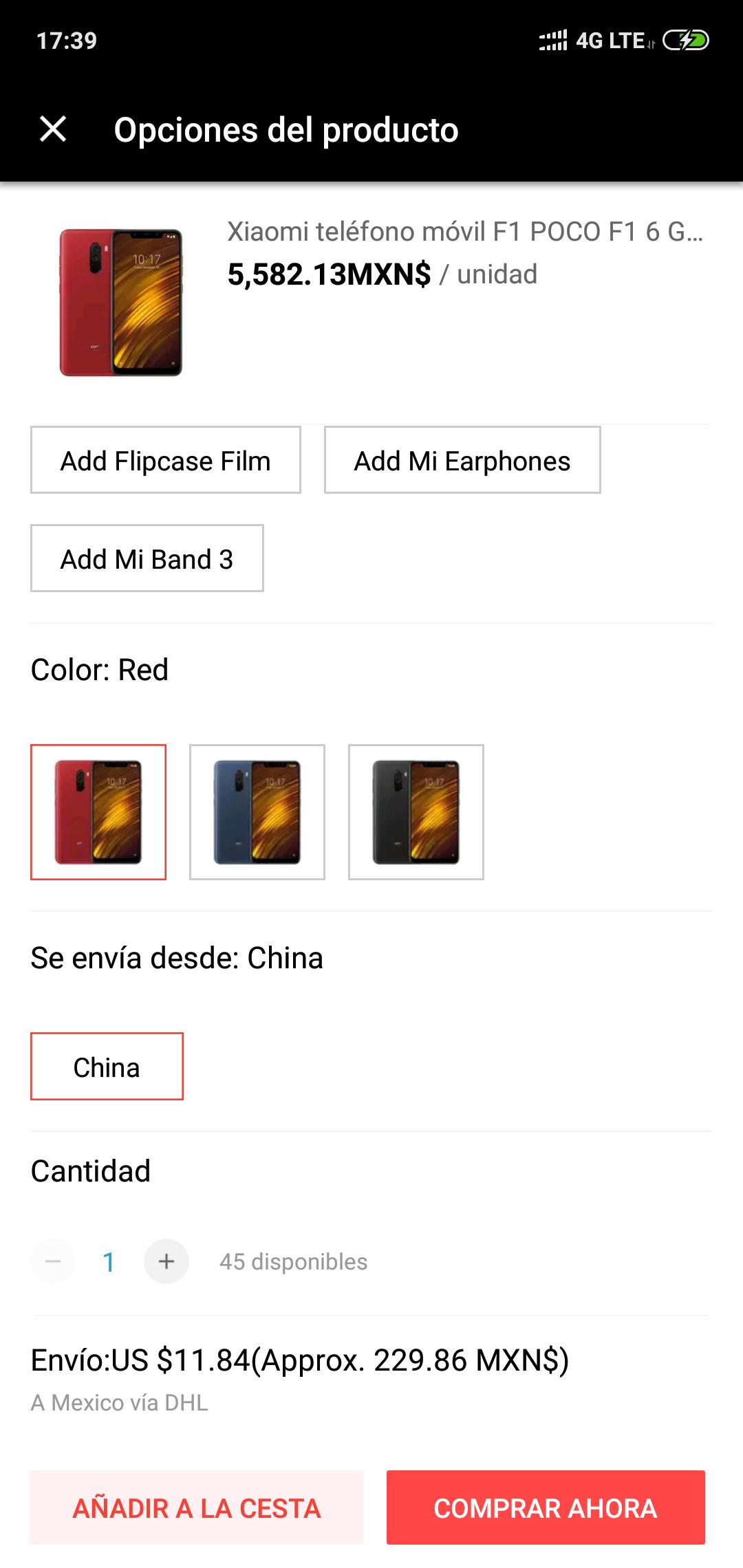 Aliexpress: POCOPHONE F1 (Color Rojo)