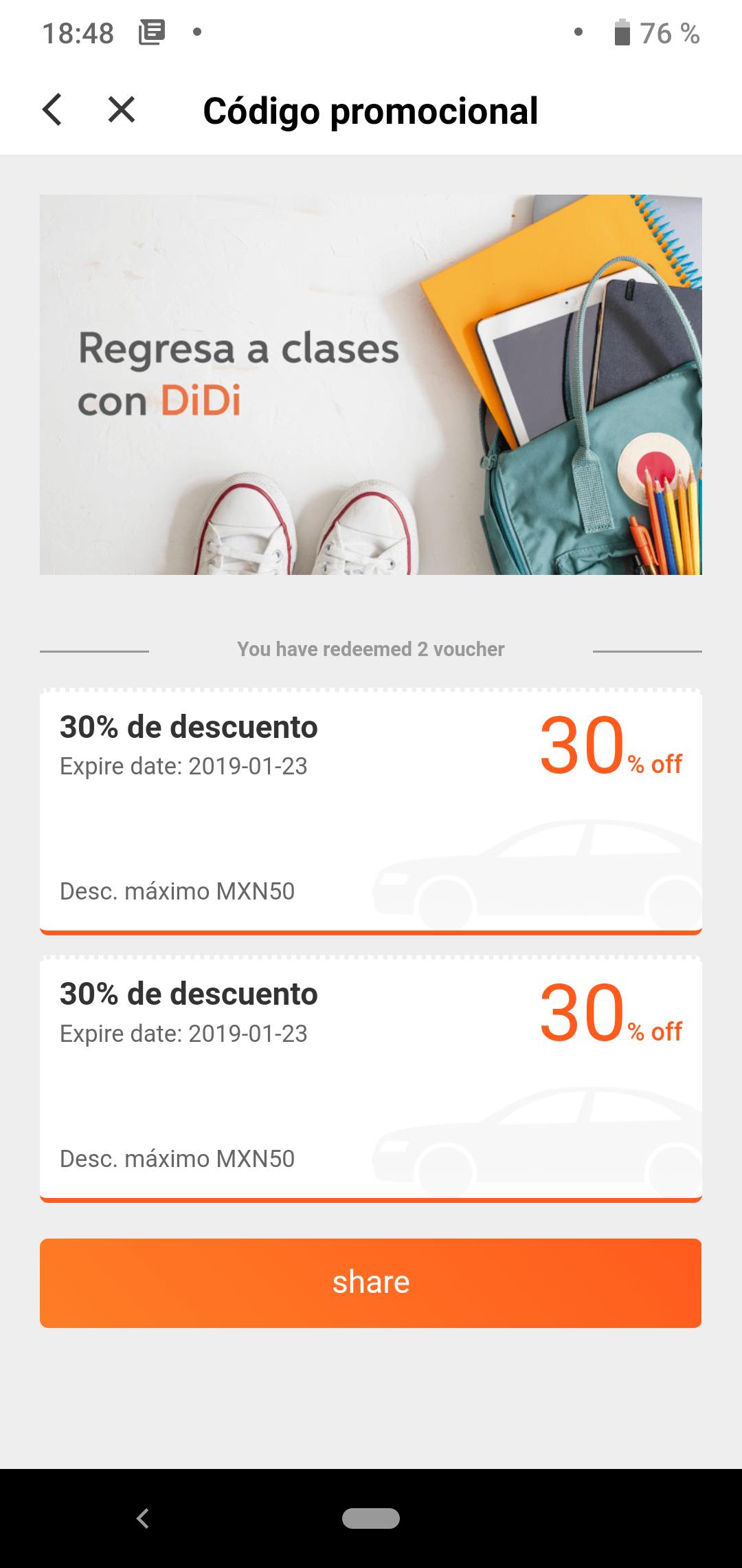 Didi CDMX: dos viajes con 30% de descuento