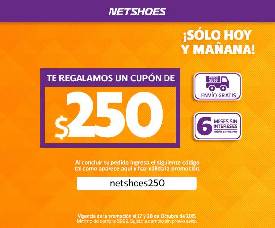 Netshoes: Cupón de $250 de descuento en compras de $999 o más