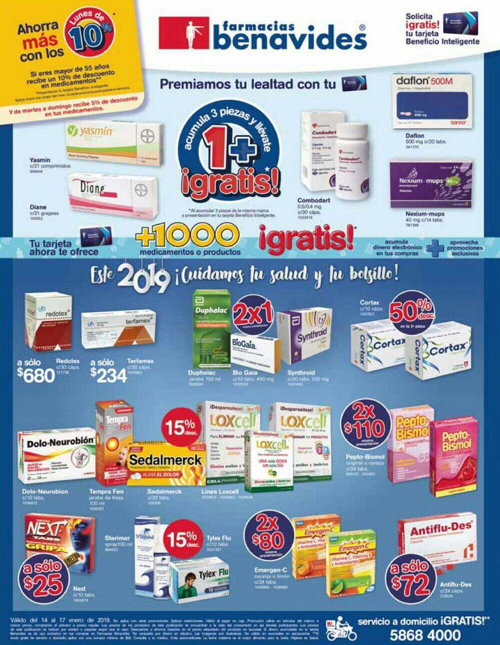 Farmacias Benavides: Ofertas del Lunes 14 al Jueves 17 de Enero