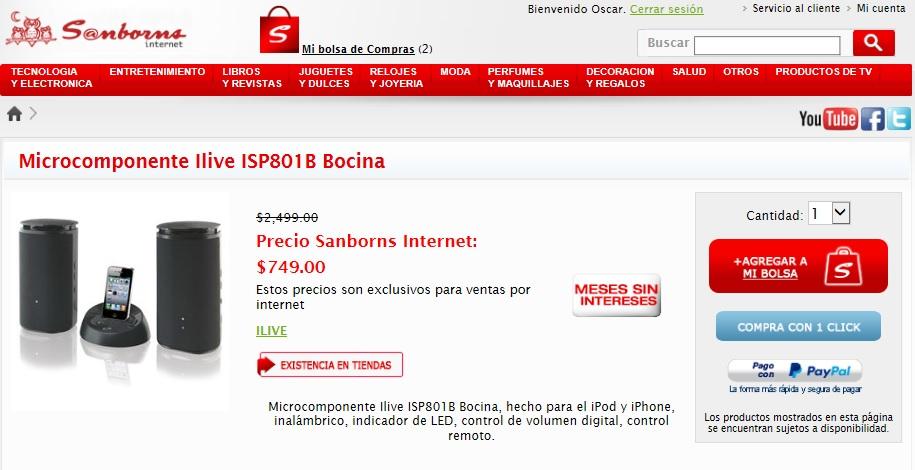 Sanborns: Microcomponente Ilive ISP801B Bocina