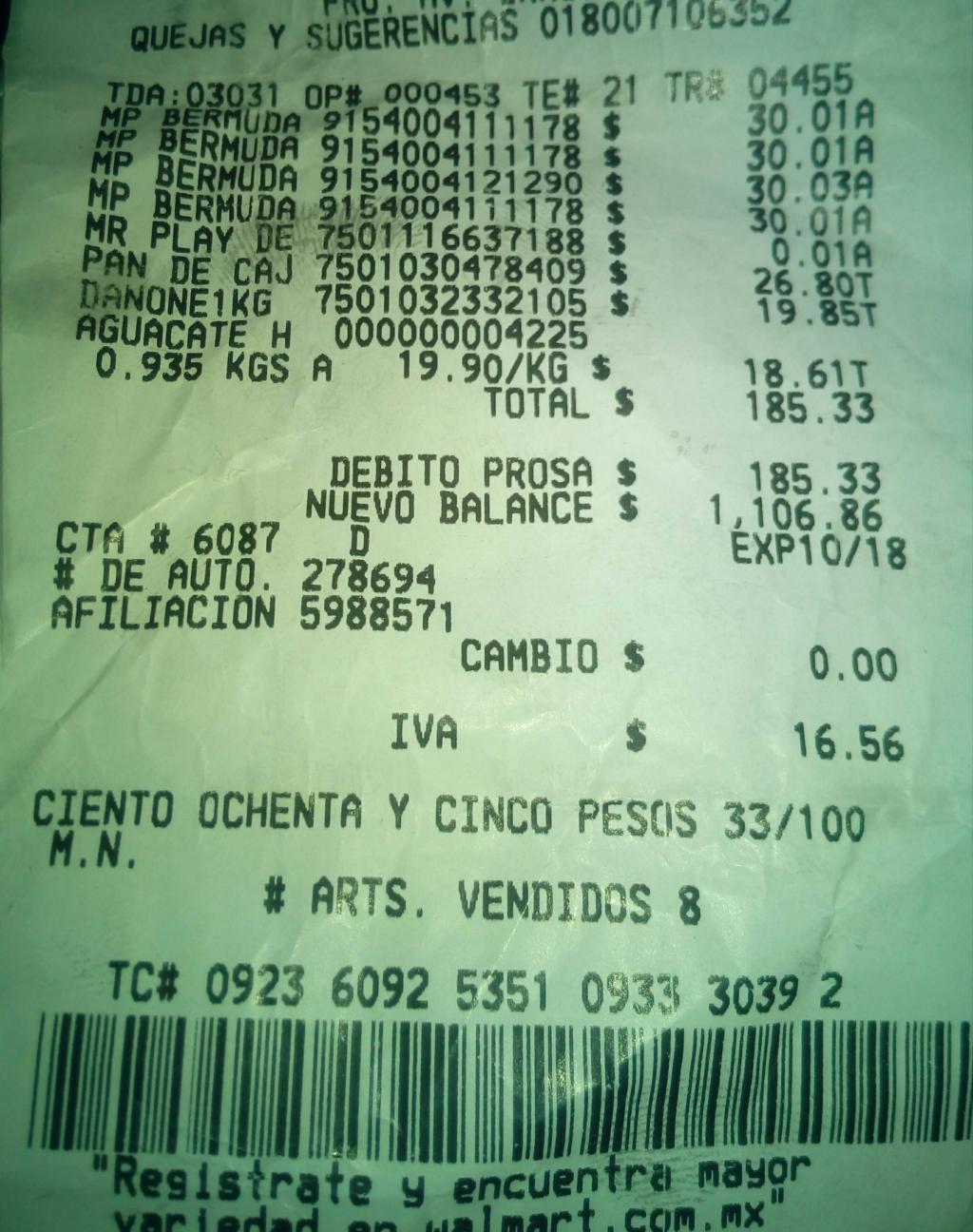 Walmart: playera dunlop $0.01, bermudas $30.01, pantalón $30.01 y mas
