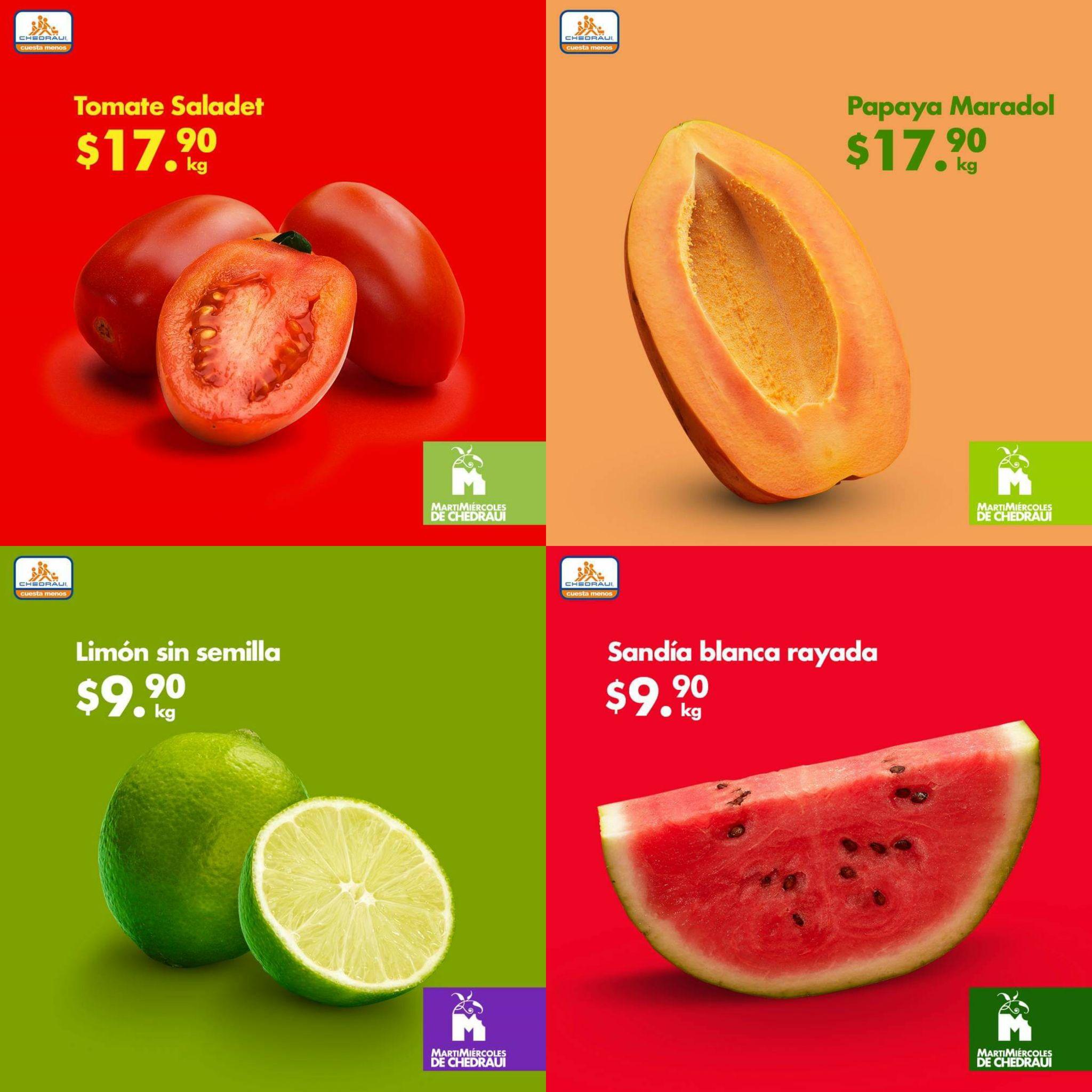Chedraui: Martimiercoles de Frutas y Verduras 15 y 16 de Enero