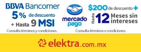 """Elektra: 5% de descuento con BBVA """"o"""" $200 de descuento con MERCADOPAGO"""