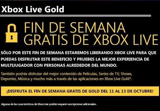 Fin de semana Xbox Live Gold gratis del 14 al 17 de febrero