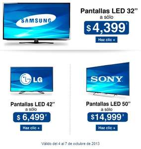 "Sam's Club: LED Smart TV 32"" $4,399, pantalla LED 3D 42"" $6,499 y más"