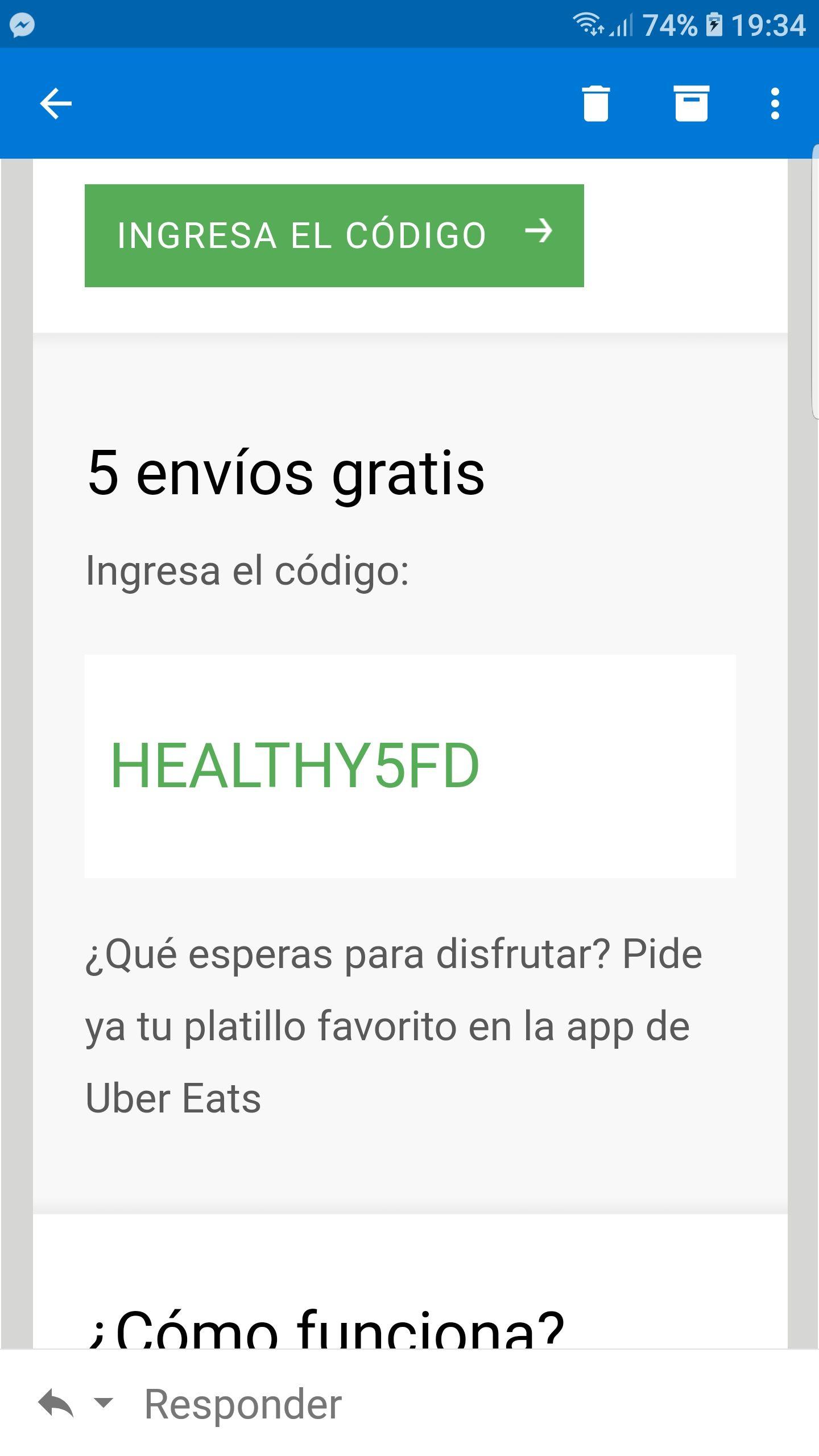 Uber Eats: 5 envios gratis con cupón (usuarios seleccionados)