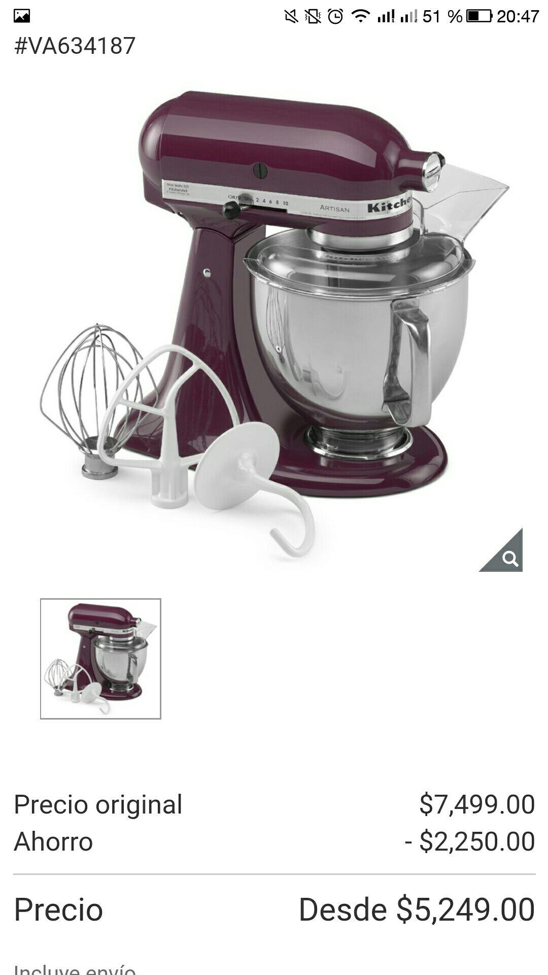 Costco online: batidora kitchen aid artisan 4.8 litros