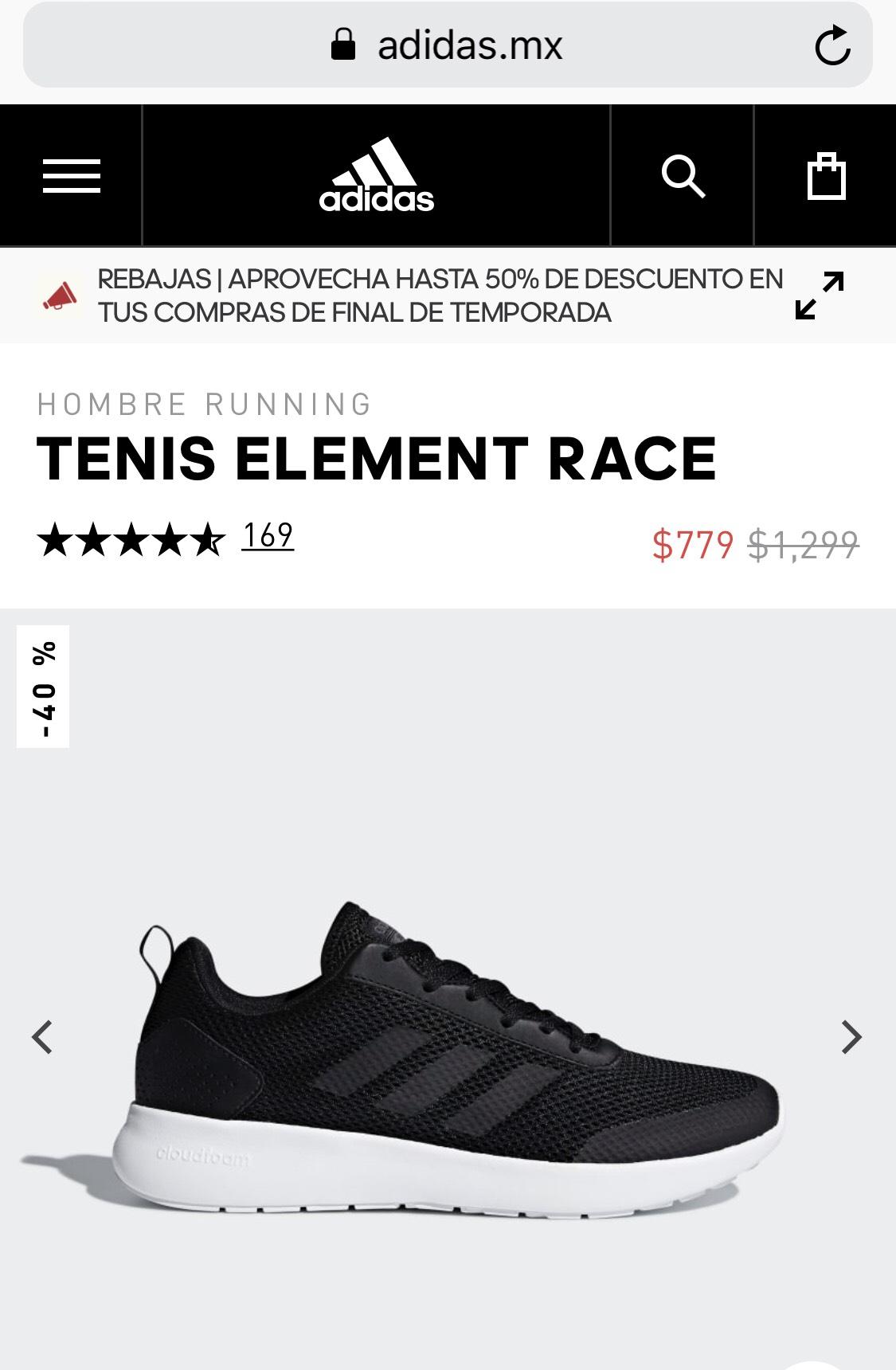 Adidas: Tenis Negros Element Race (varias tallas)