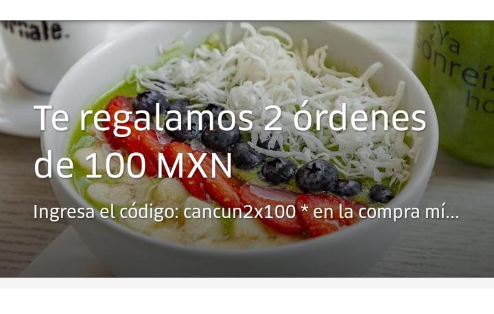 Uber Eats : 2 descuentos de $100 en la compra de $150 (solo Cancún)